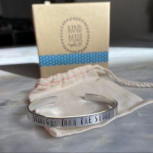 STRONGER THAN THE STORM Handmade Silver Bracelet